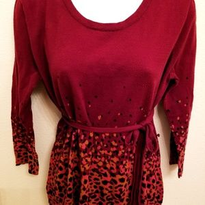 Ny&Co xl maroon top with removable belt modern
